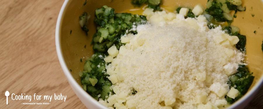 Parmesan et mozzarella pour bâtonnets de légumes pour bébé
