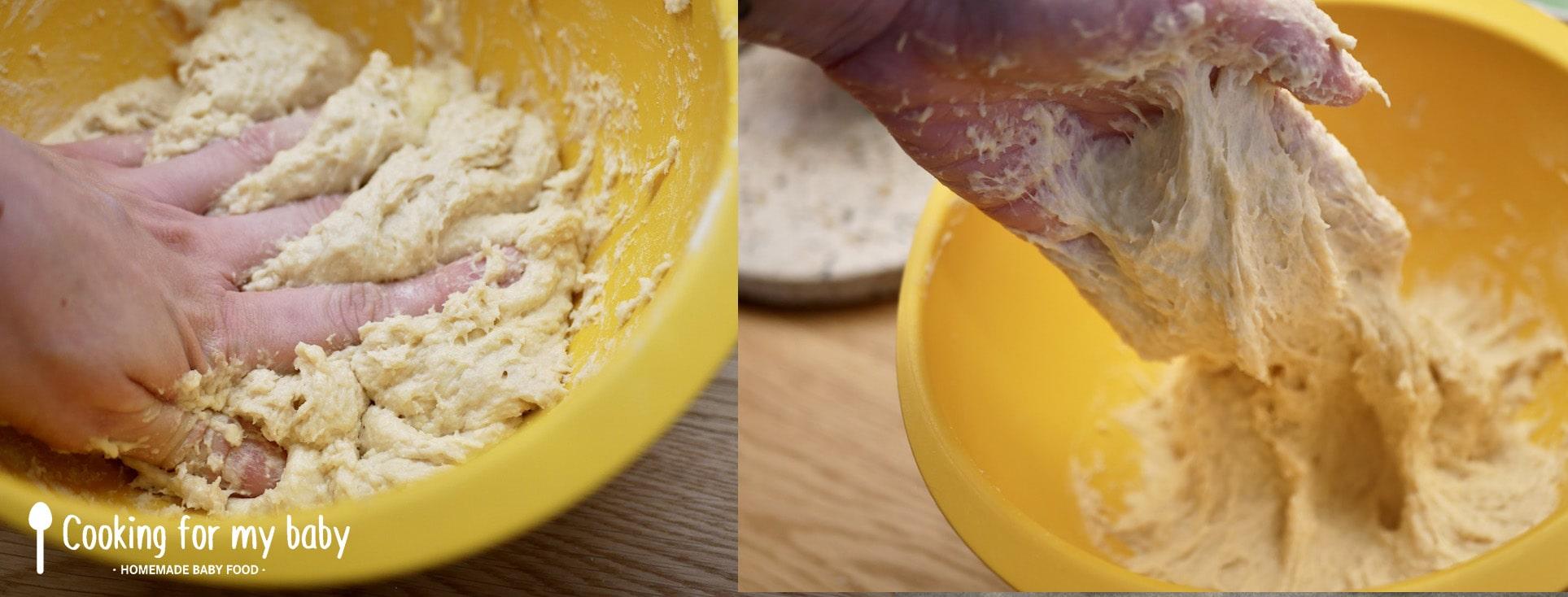 Pétrissage de la pâte à pains burgers moelleux à la maison