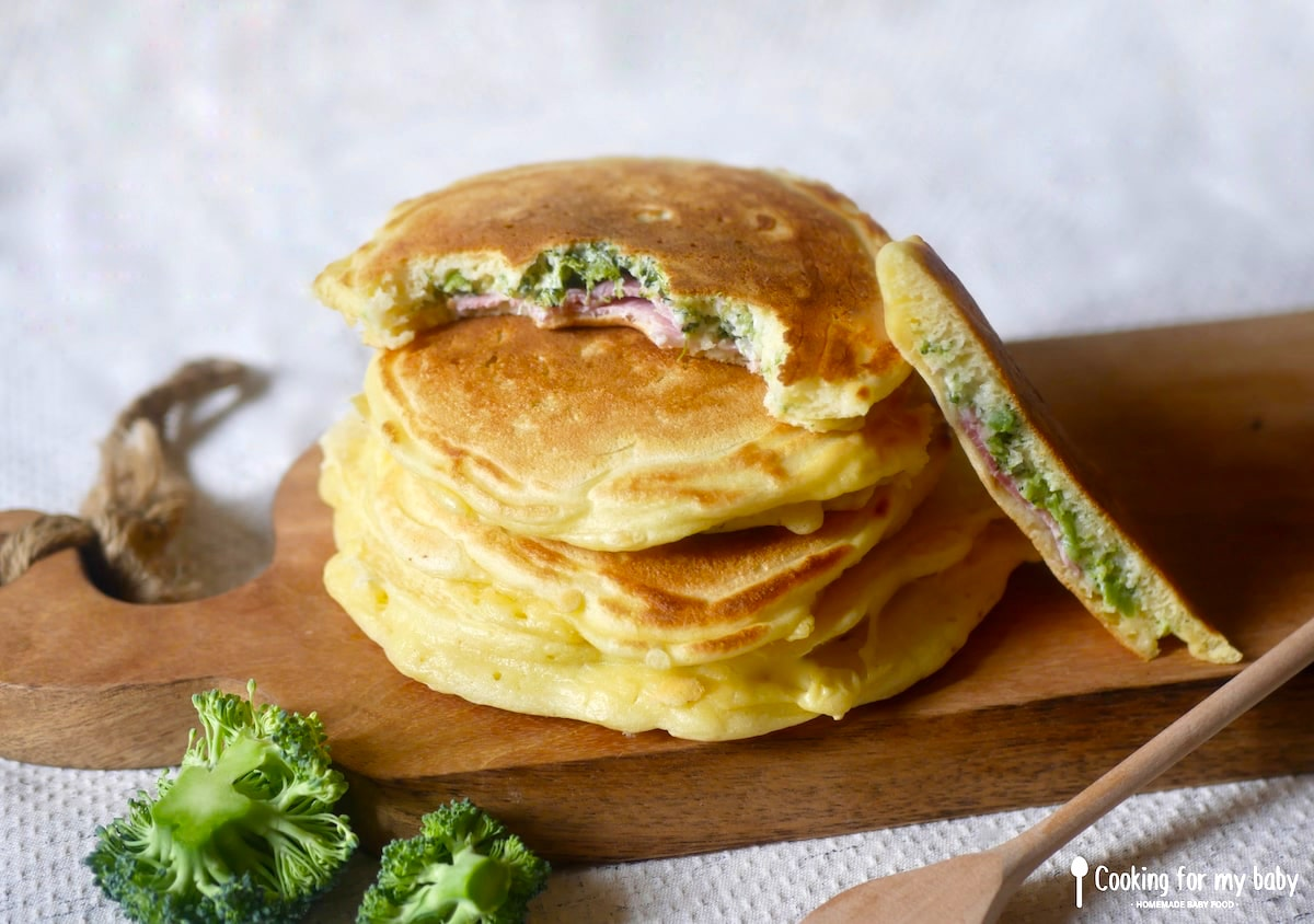 Recette de pancakes fourrés au brocolis, St Môret et jambon pour bébé et toute la famille (Dès 12 mois)