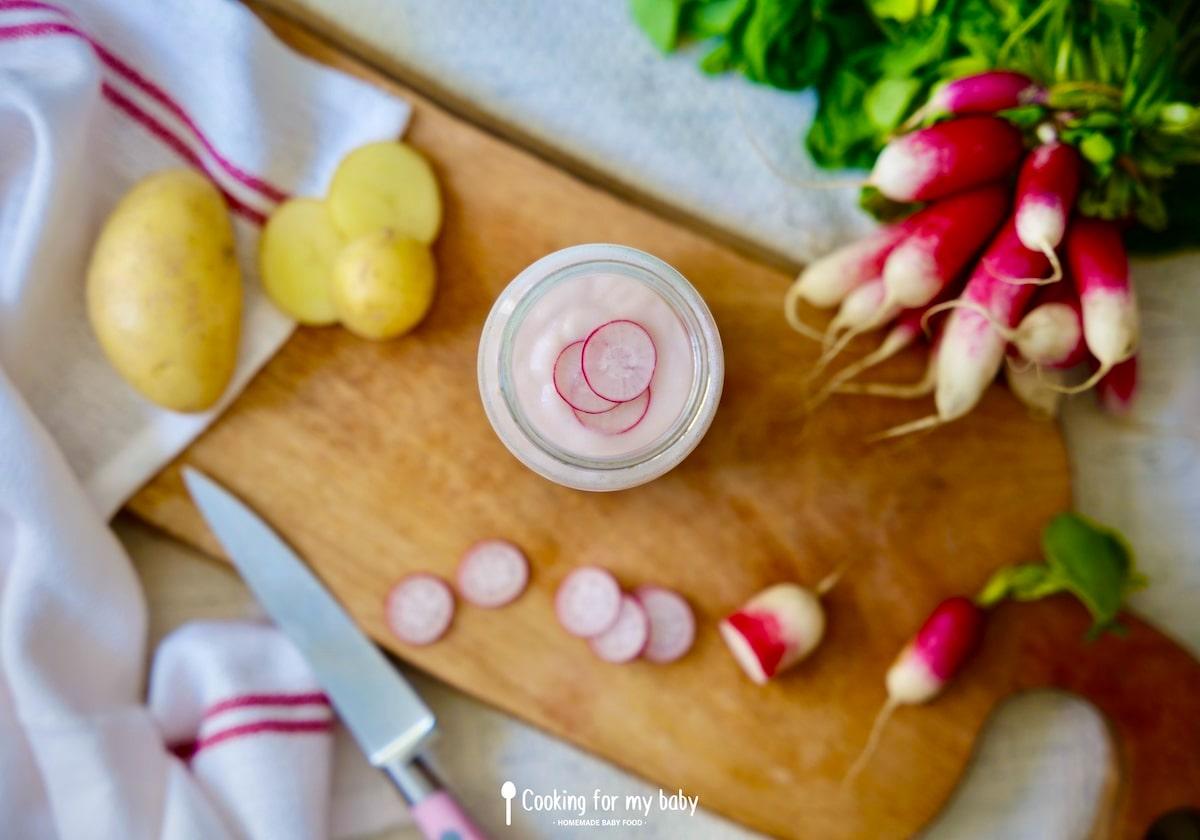 Recette de purée de radis rose, pomme de terre et fromage frais pour bébé (Dès 6 mois)